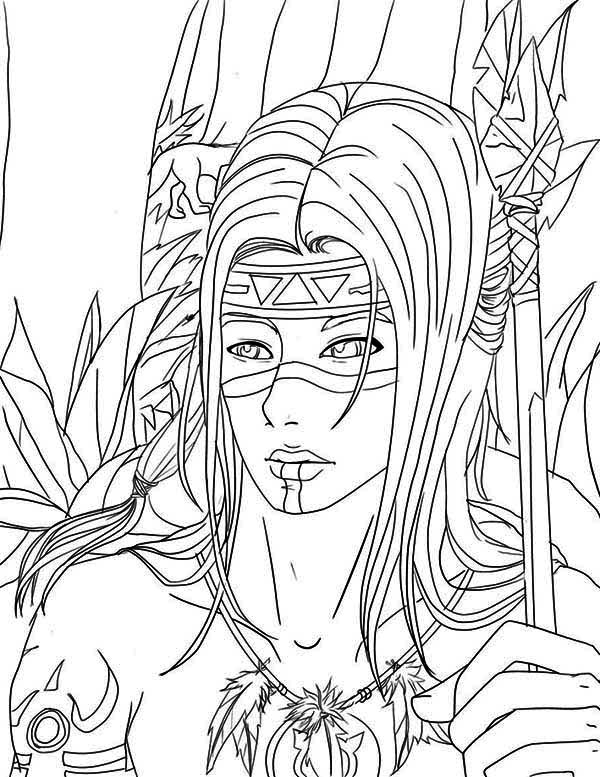 pilgrim coloring pages - native american warrior on native american day coloring page