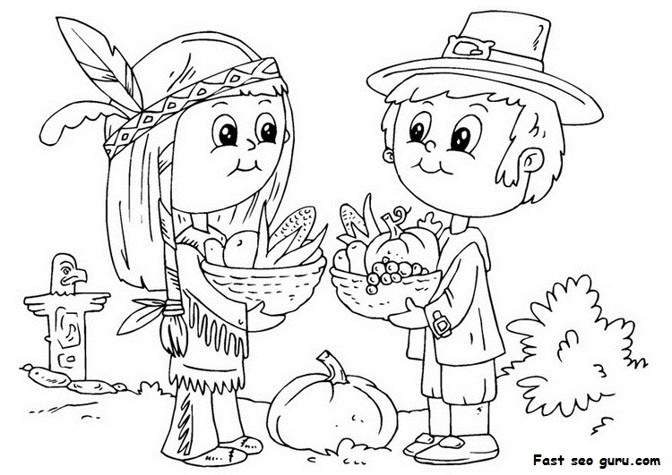 pilgrim coloring pages - printable thanksgiving native and pilgrim coloring page