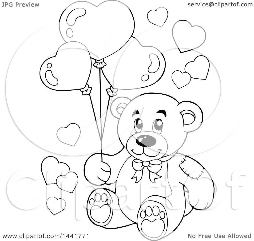 pin up coloring pages - black and white lineart valentine teddy bear holding heart balloons