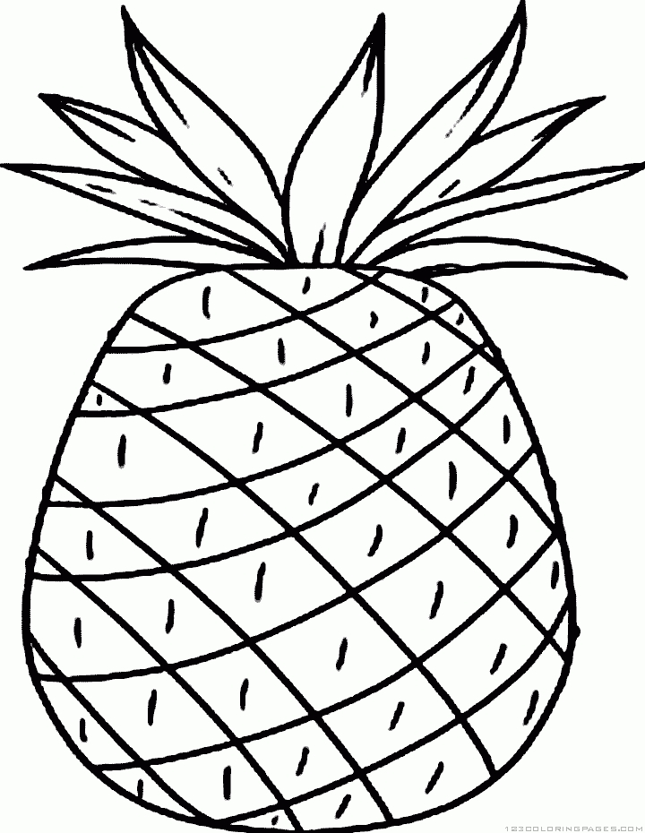 Pineapple Coloring Page - Pineapple Coloring Pages