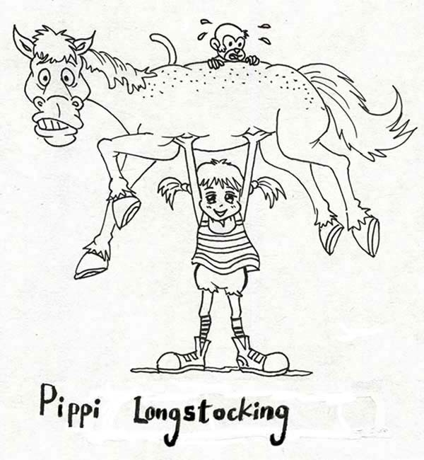 pink panther coloring pages - pippi longstocking lifting her horse and monkey coloring pages