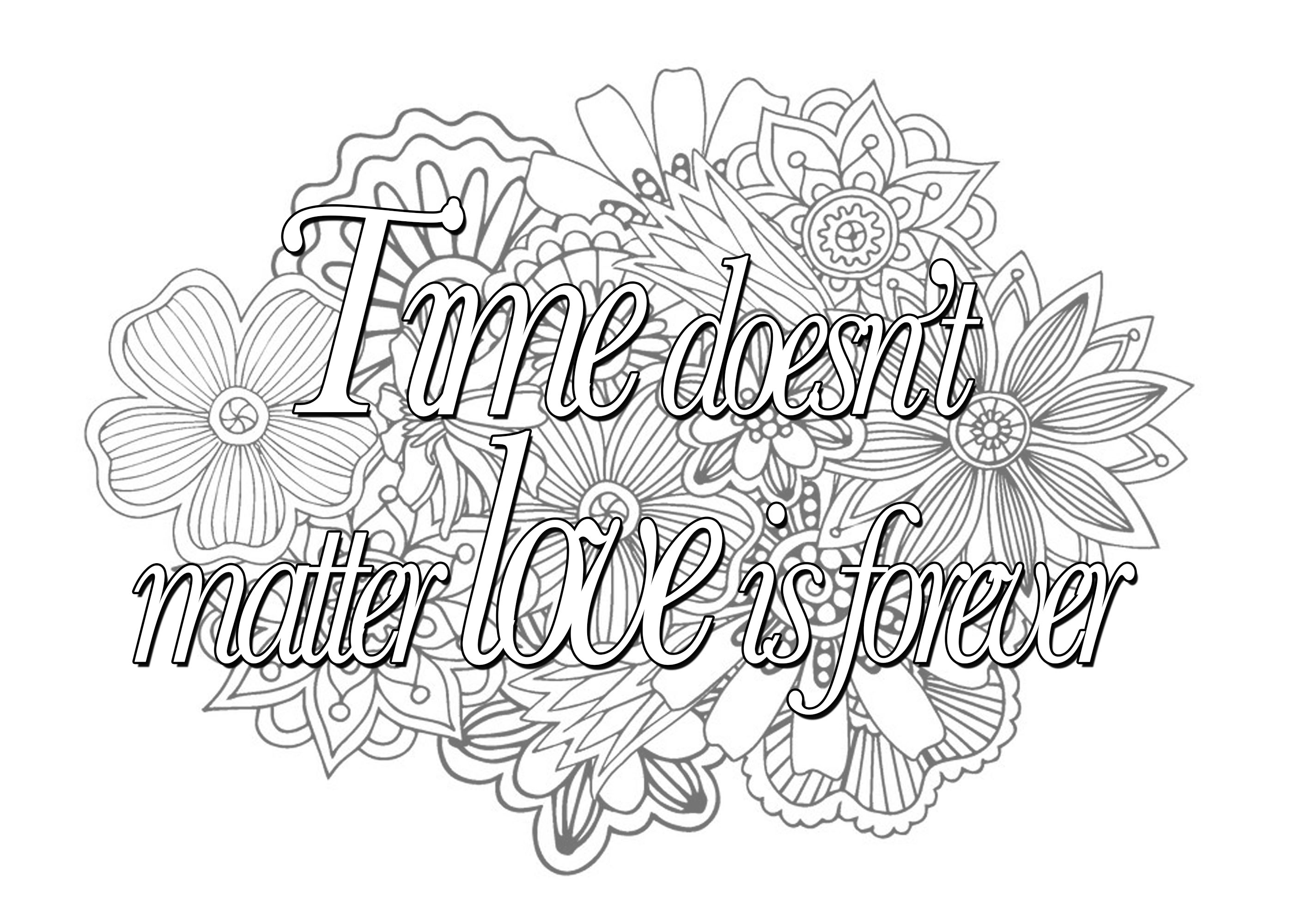 pinterest coloring pages for adults - quotes image=quotes coloring quote time doesnt matter love is forever 1