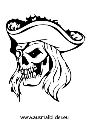 pirate coloring pages - Piraten Totenkopf mit Hut