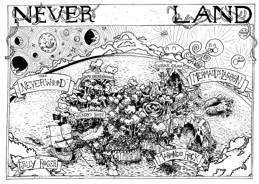 pirate coloring pages - Never Never Land 1
