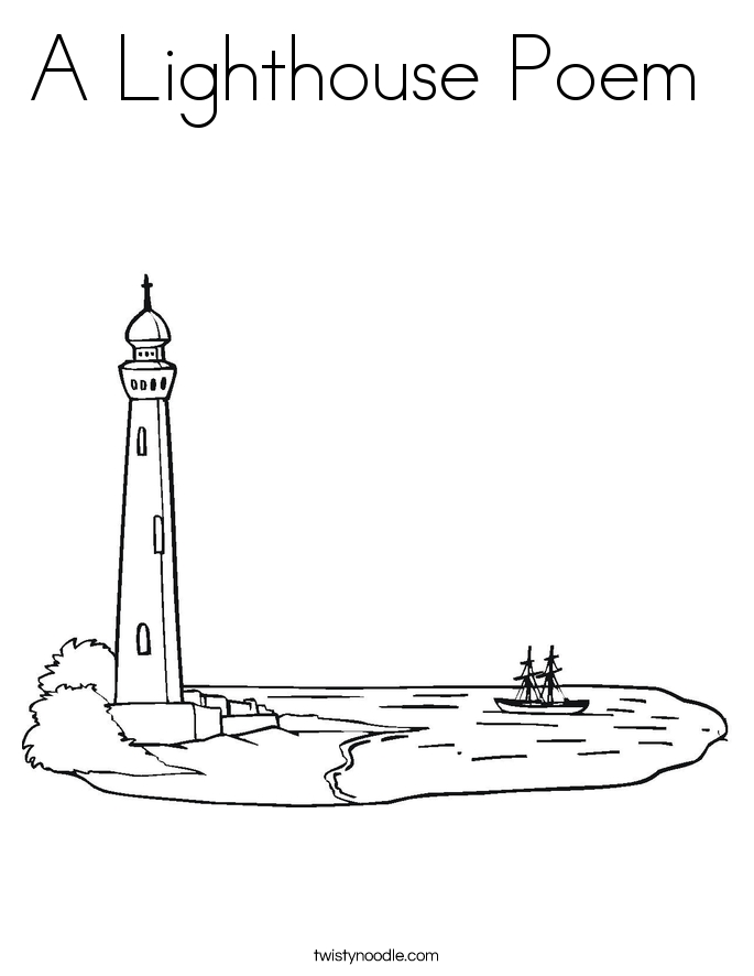 pirate ship coloring page - a lighthouse poem 2 coloring page