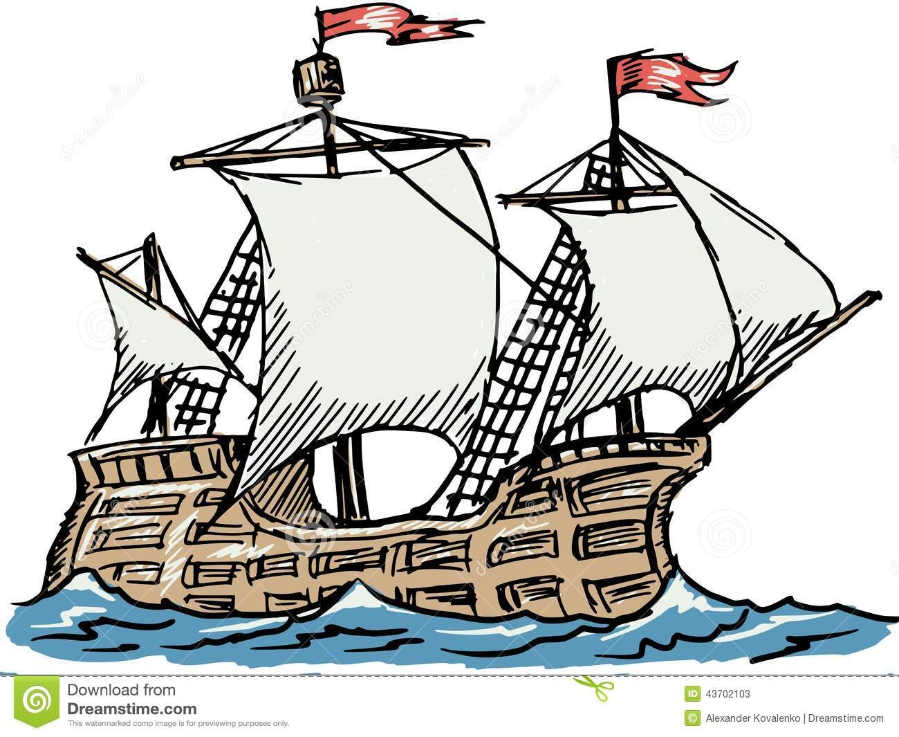 pirate ship coloring page - stock illustration caravel hand drawn sketch illustration image