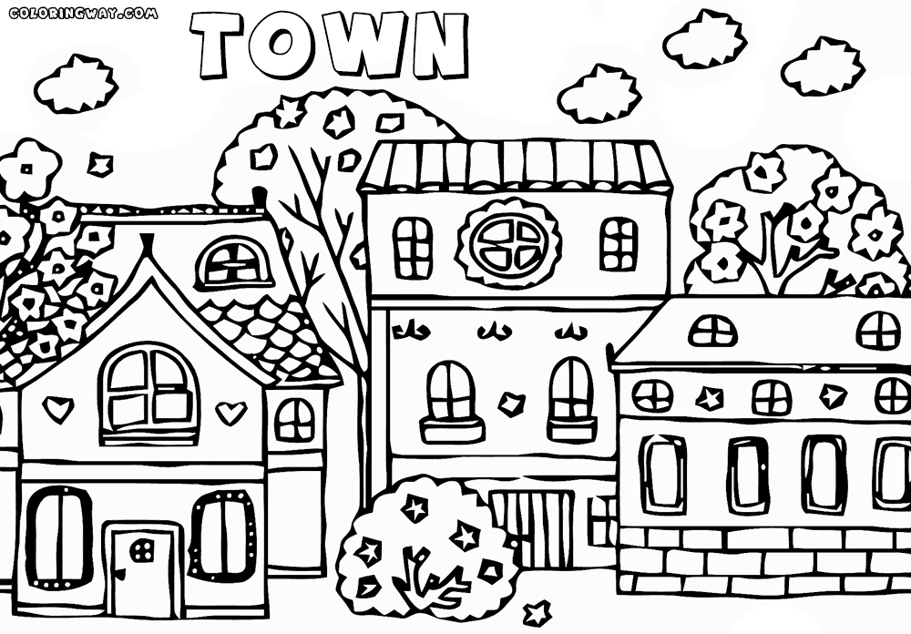 pirate ship coloring page - town coloring pages