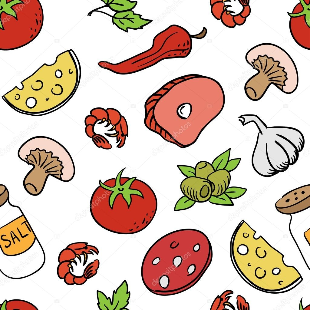 pizza coloring pages - stock illustration set of ingre nts for pizza