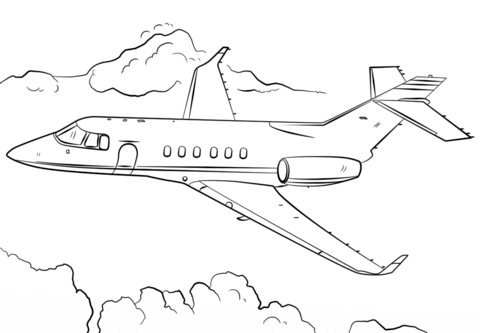 plane coloring pages - jet airplane