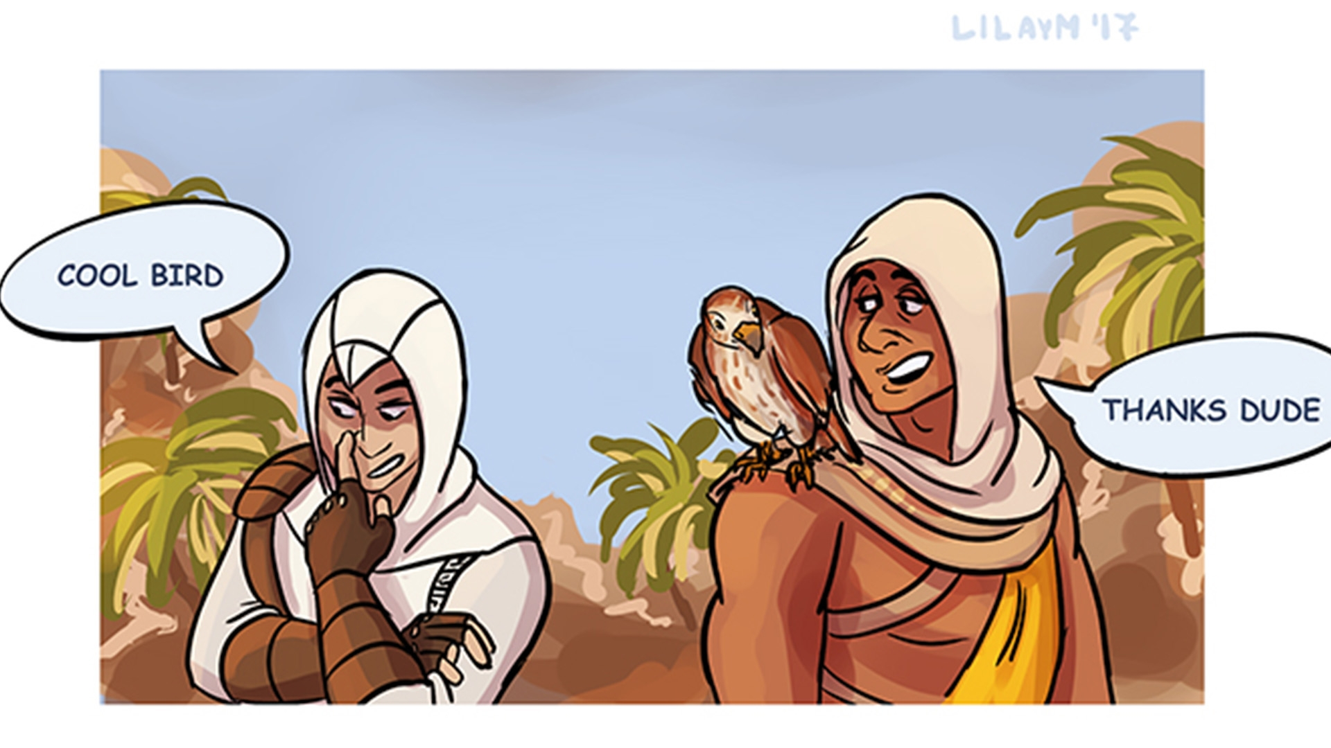 playground coloring pages - assassins creed® origins fan art friday bayek and senu edition