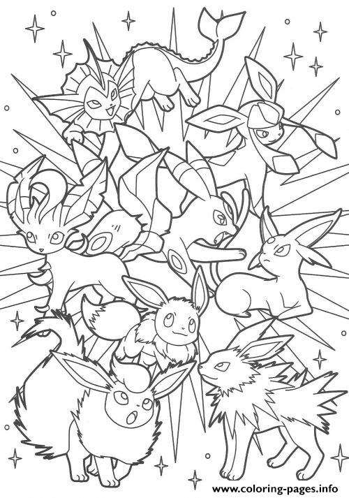 pokemon coloring pages eevee evolutions - backgrounds coloring pokemon eevee evolutions coloring pages at eeveelution eevee evolutions coloring pages free printable