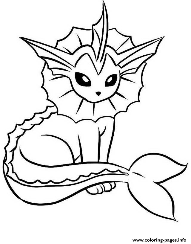 pokemon coloring pages eevee evolutions - vaporeon eevee pokemon evolutions printable coloring pages book