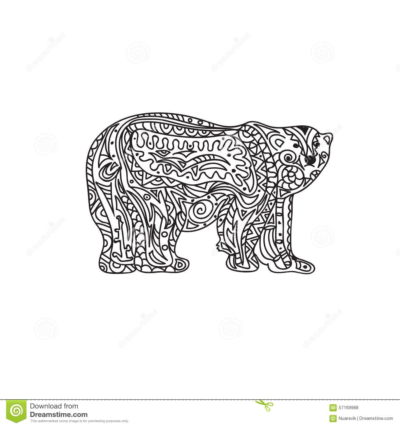 polar bear coloring pages - illustration stock zentangle d ours blanc image