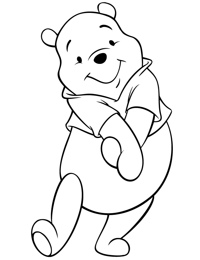 pooh bear coloring pages - cute disney pooh bear