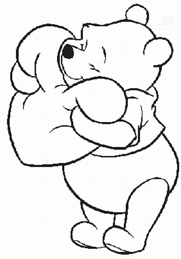 pooh bear coloring pages - pooh valentine coloring pages