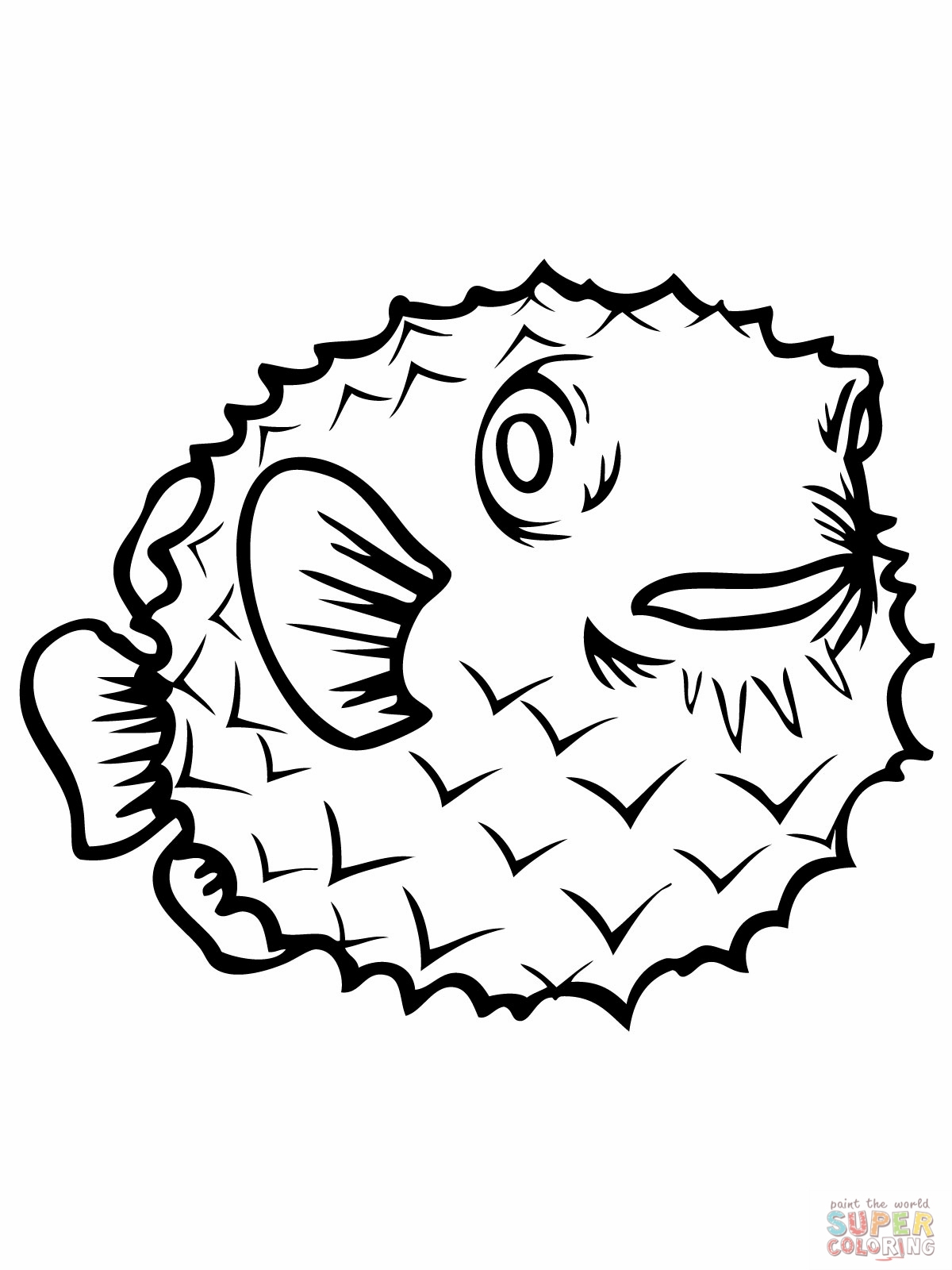 porcupine coloring page - line drawing of fish