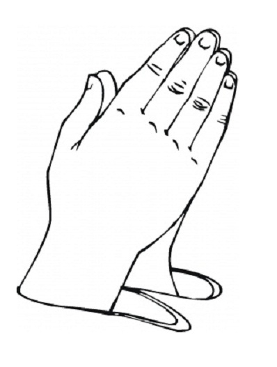 praying hands coloring page - human body parts