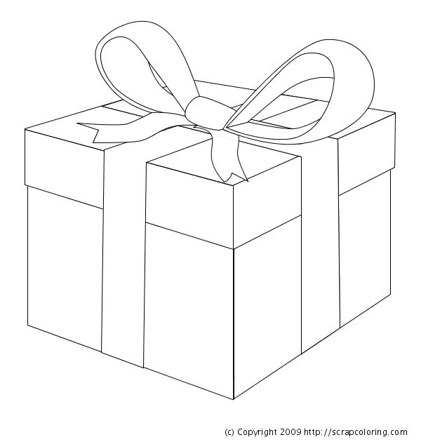 present coloring page - t wrapped present