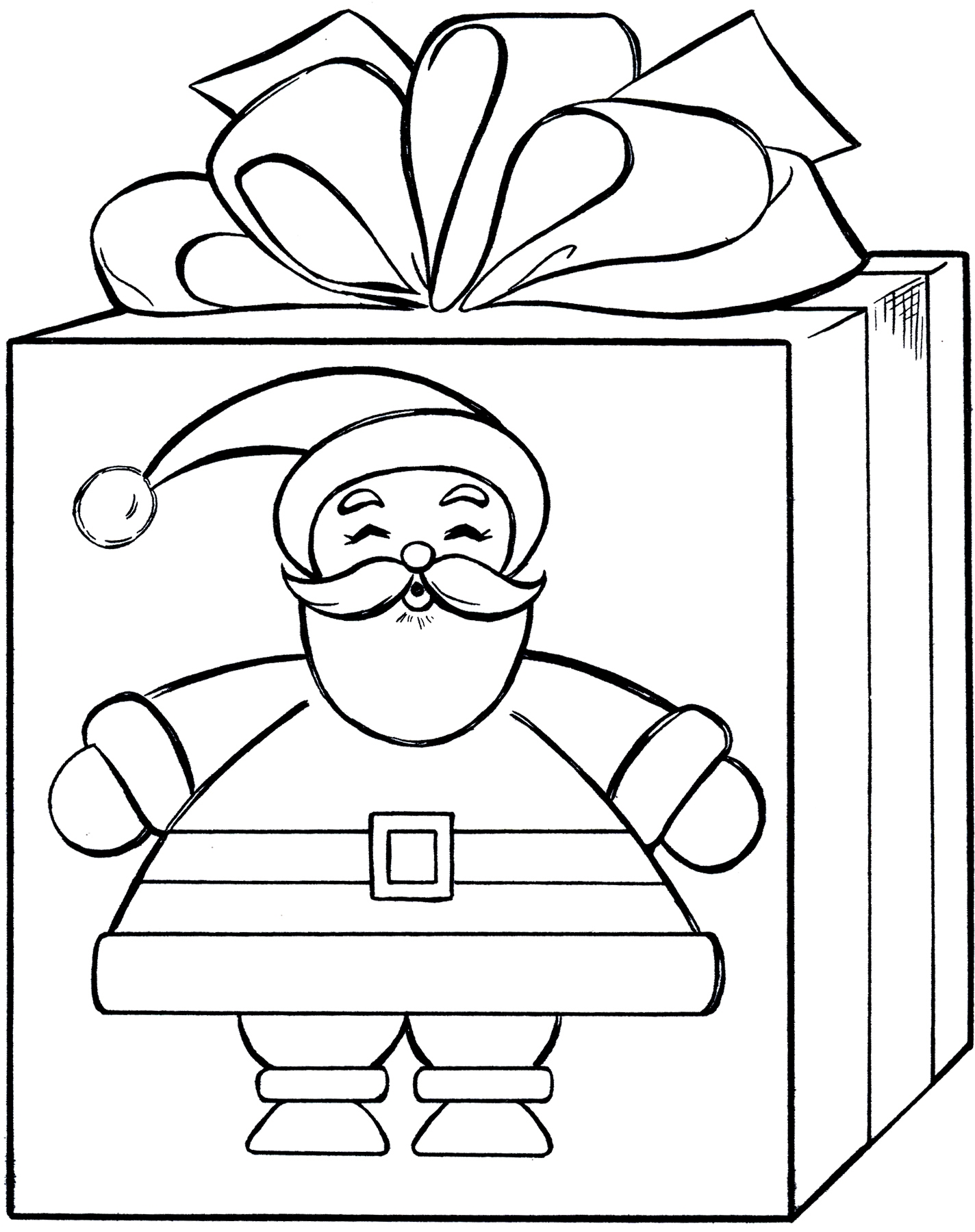 present coloring page - santa t coloring page cute
