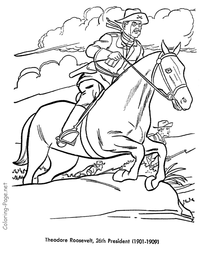 President Coloring Pages - Teddy Roosevelt U S President Coloring Pages