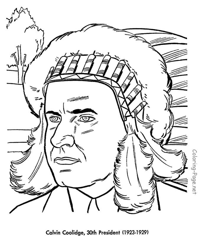 presidents day coloring pages - 030 calvin coolidge