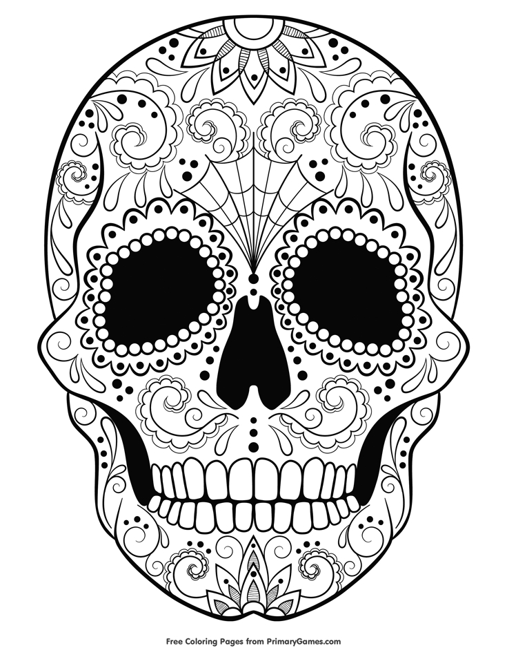 presidents day coloring pages - 11 candy skull