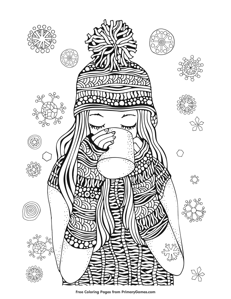 presidents day coloring pages - 07 girl drinking hot chocolate