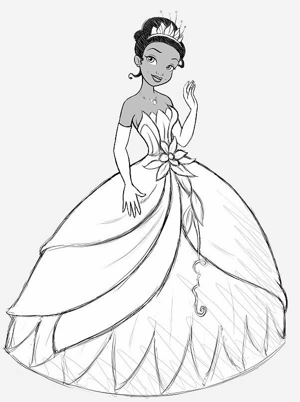 Princess and the Frog Coloring Pages - Princess Tiana and the Frog Coloring Pages Free