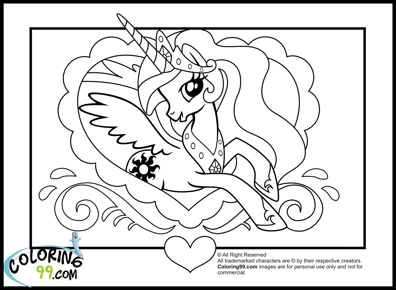 princess celestia coloring page - my little pony princess celestia