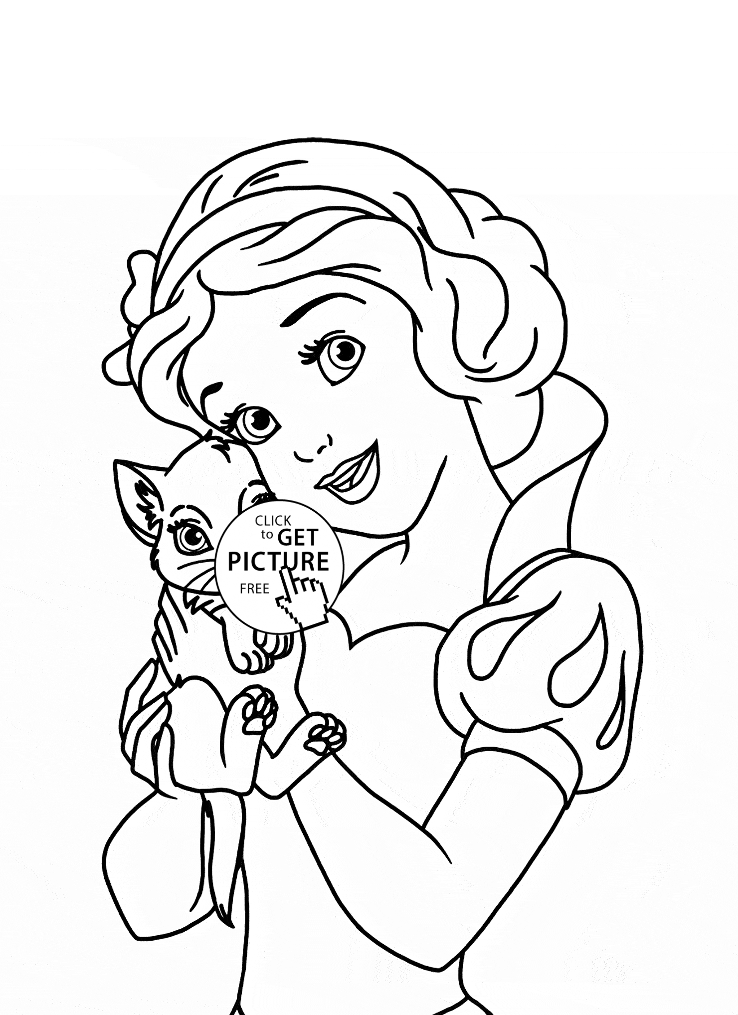 princess coloring pages to print - princess cat coloring page
