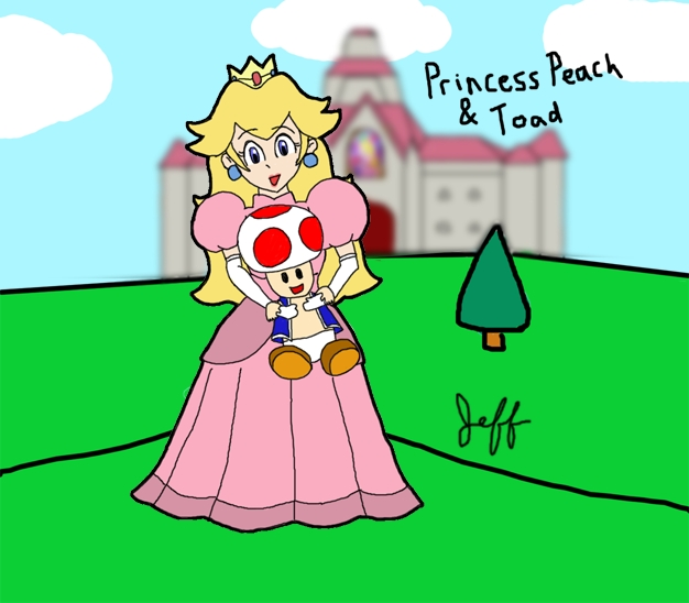 princess peach coloring pages - Peach and Toad