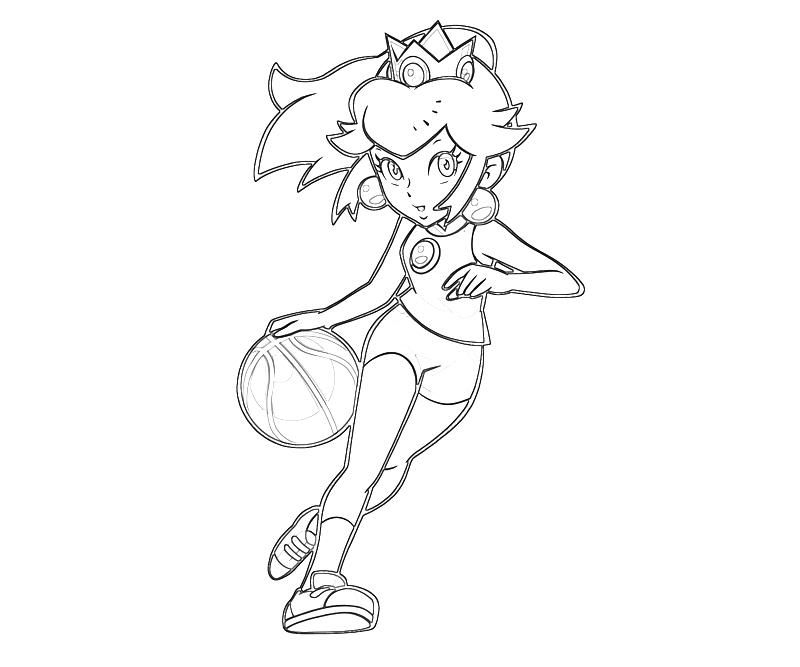 Princess Peach Coloring Pages - Princess Peach Peach Play Basket Ball