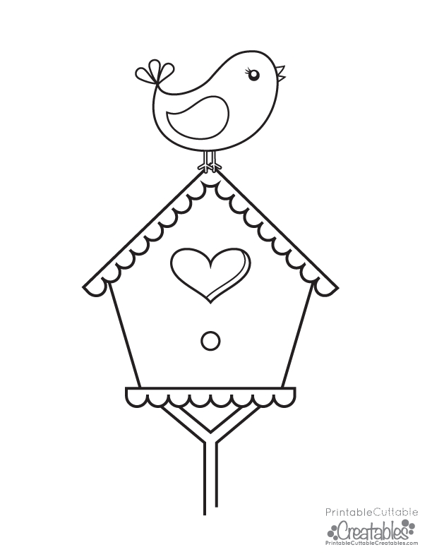 Printable Bird Coloring Pages - Bird House Coloring Page Coloring Pages for All Ages