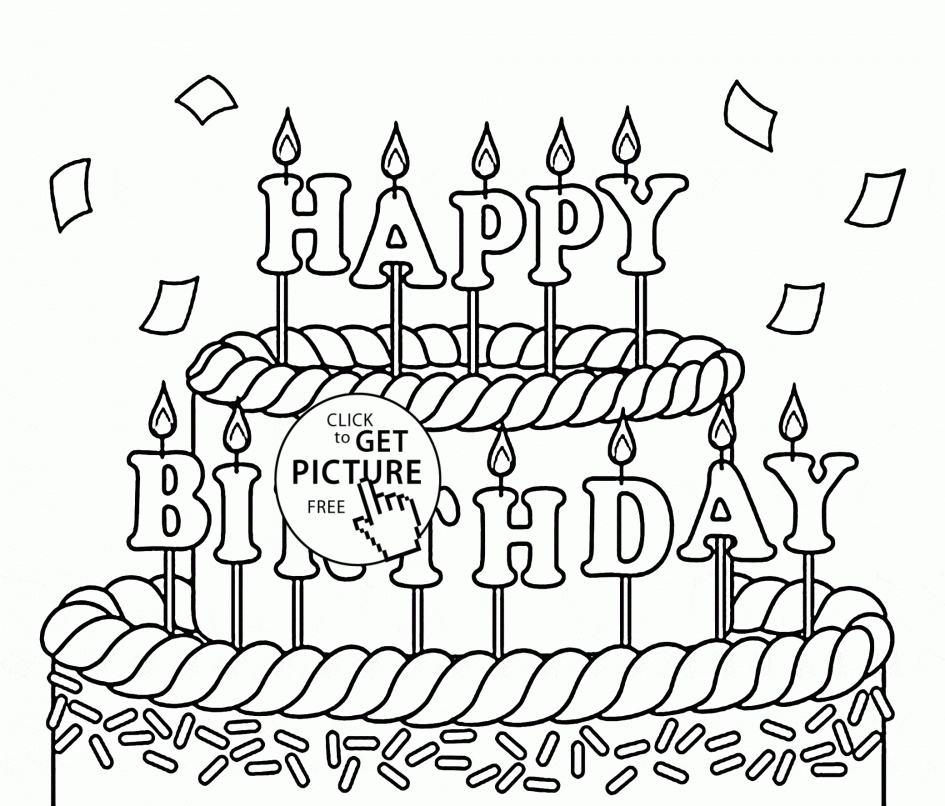 printable birthday coloring pages - happy birthday coloring pages
