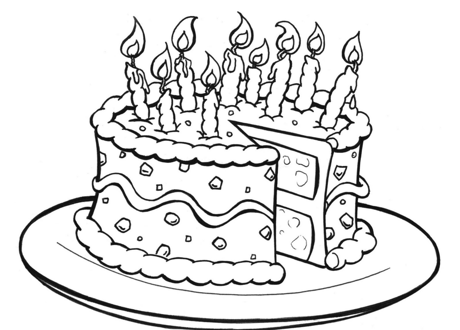 printable birthday coloring pages - birthday cake coloring pages