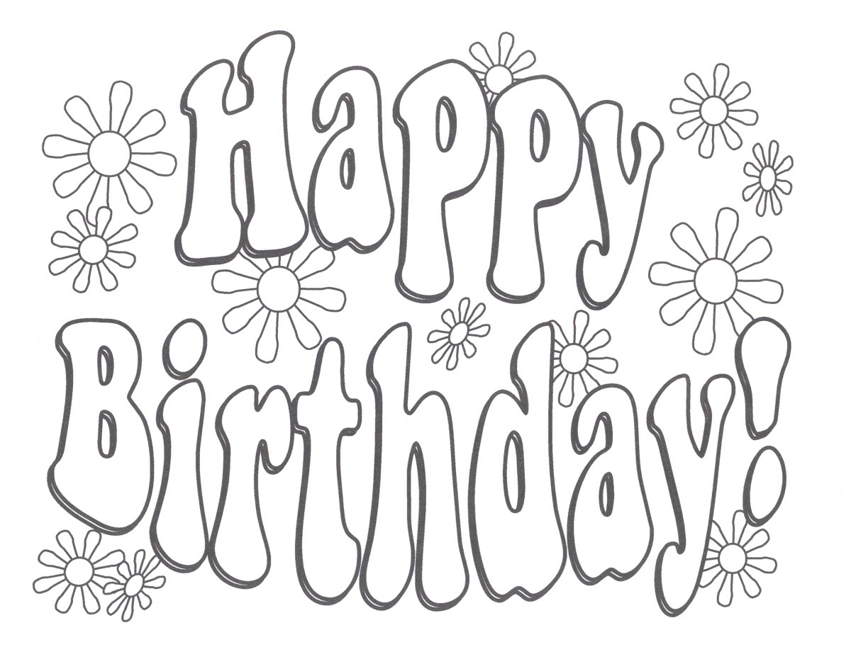 printable birthday coloring pages - printable happy birthday coloring pages