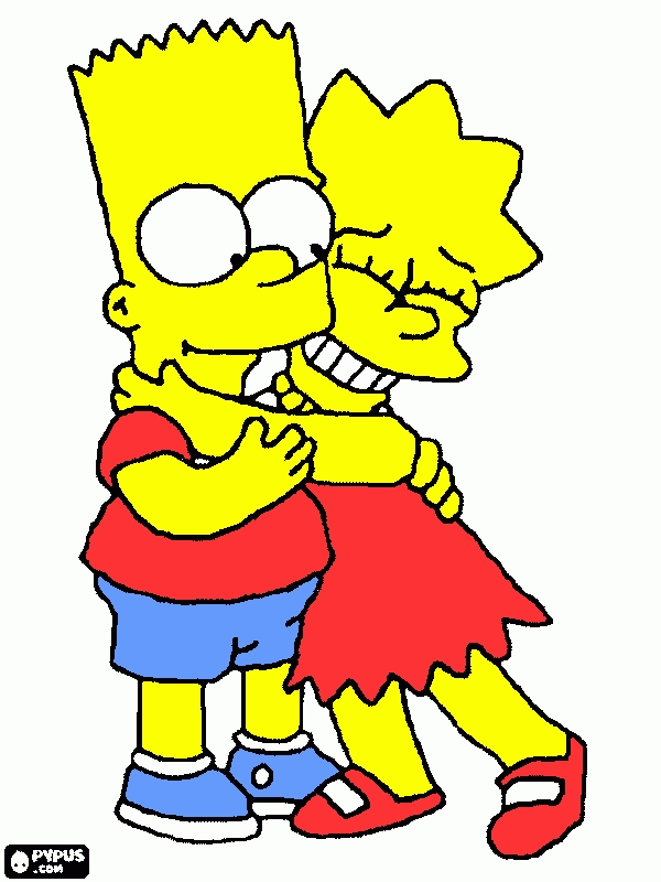 printable coloring book pages - coloring page bart and lisa