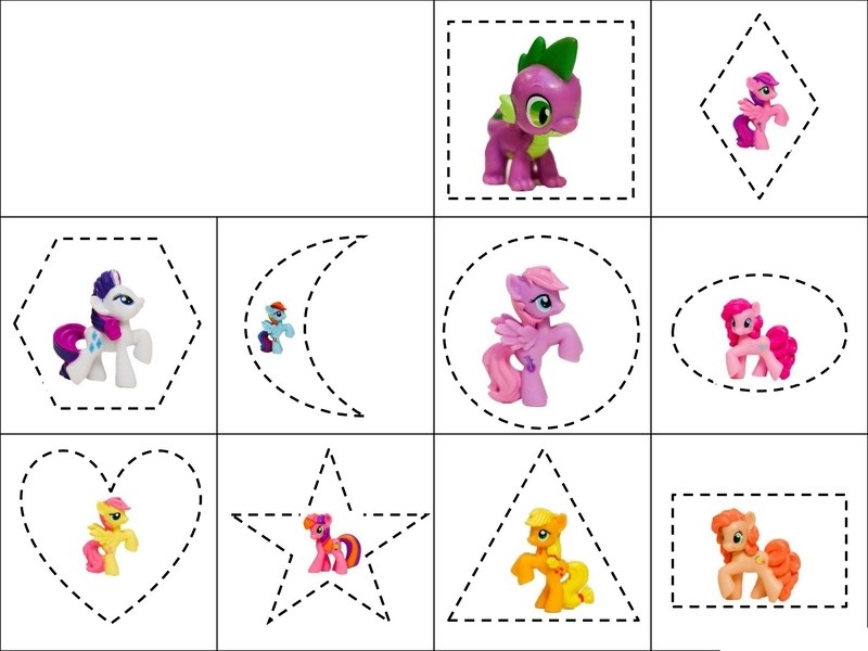 printable coloring pages for preschoolers - my little pony shapes