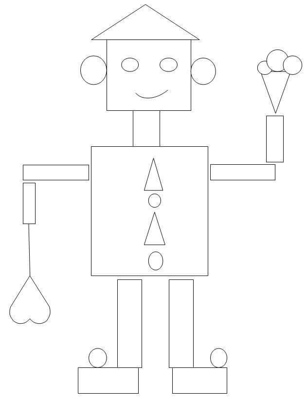 printable coloring pages for preschoolers - robot shapes coloring page