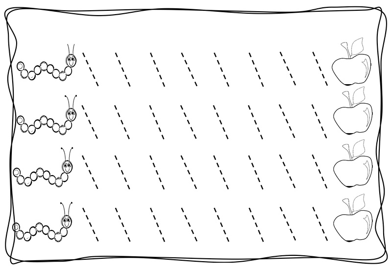 printable coloring pages for preschoolers - tracing diagonal lines free sheet 4