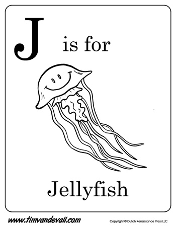 printable coloring pages for toddlers - j is for jellyfish letter j