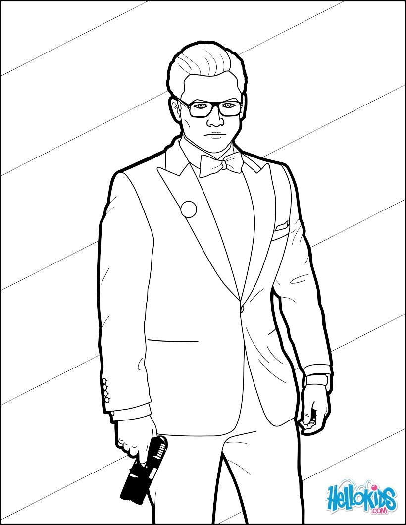 printable coloring pages for toddlers - kingsman gary eggsy unwin