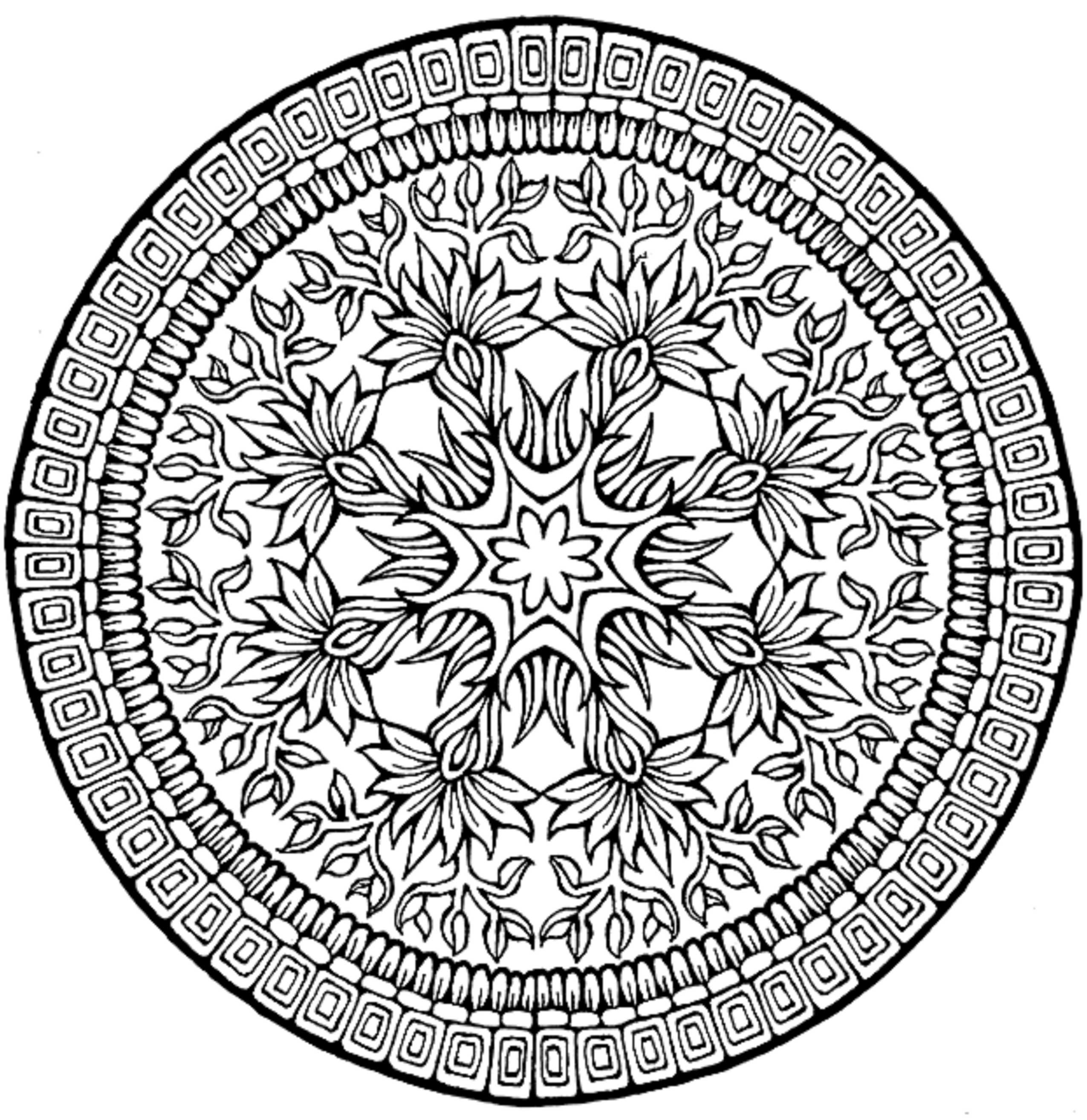 printable complex coloring pages - flower coloring pages for teens