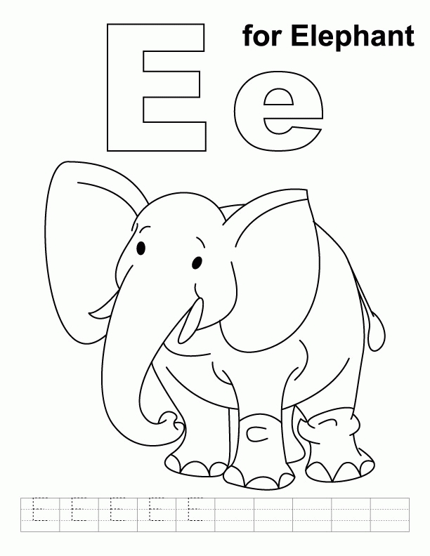 printable elephant coloring pages - album=letter e coloring page