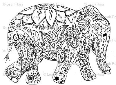 printable elephant coloring pages - colouring in pages