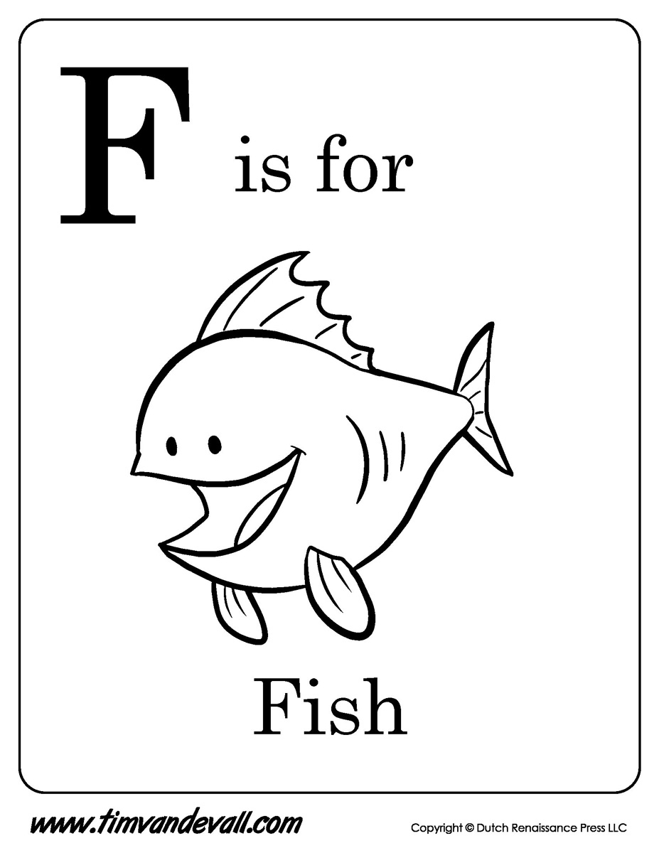 printable elephant coloring pages - f is for fish printable