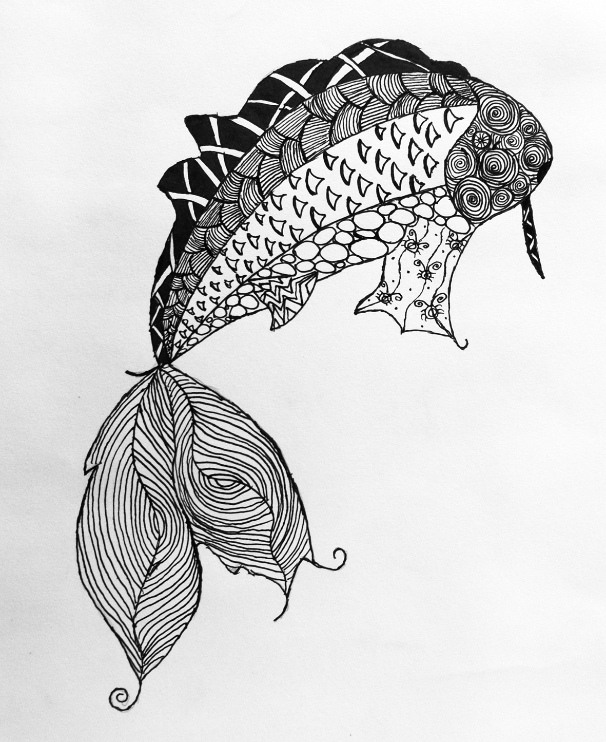 printable fish coloring pages - animal zentangles