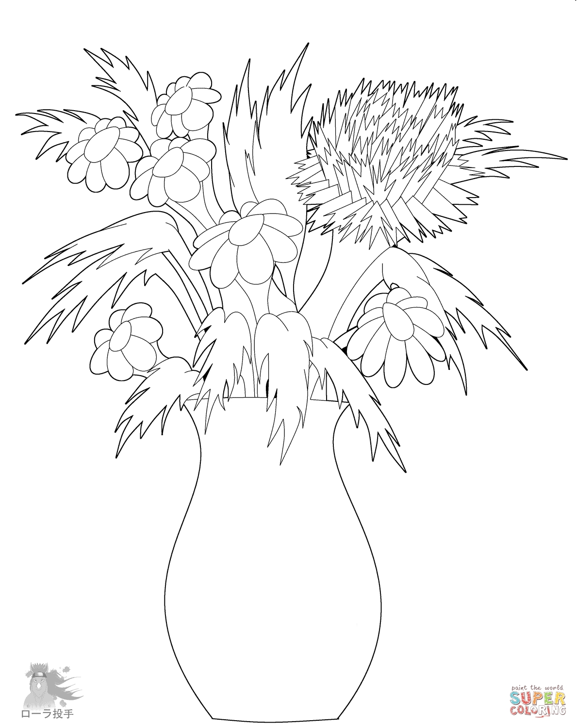 printable flower coloring pages - flower vase coloring page flowers in vase coloring page free printable coloring pages