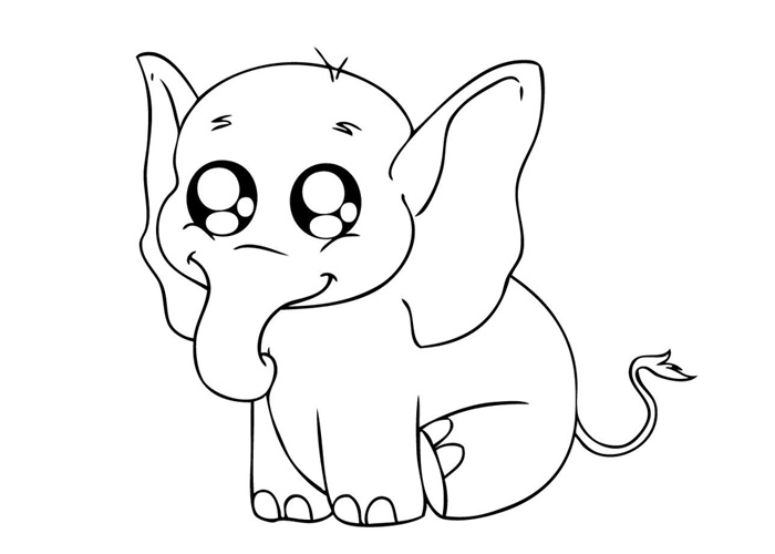 printable flower coloring pages - baby elephant coloring pages