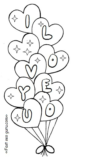 Printable Heart Coloring Pages - Printable Valentine Heart Balloons Coloring Pages